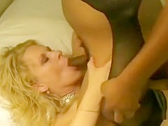 Blonde milf receiving total pleasure from blacks