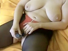 Slutty wife plays with a sex toy before getting fucked hard doggystyle