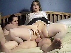 Mother and her step daughter and her son do sex and enjoy