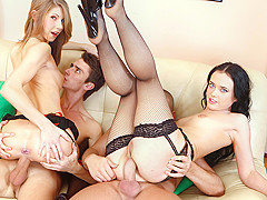 Anjelica & Lora in Anal Foursome - NoBoring