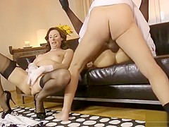 British milf and blonde girl fucked in sexy stockings