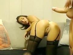 Sexy amateur girl gets ass fucked in black lingerie