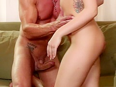 Sultry young blonde with nice tits has a hung guy hammering her snatch