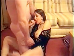 Sexy brunette mom gets fucked in the living room and sucks dick before swallowing cum