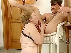 Chubby mature Jenny blows and gets her tits swinging while fucking