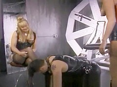 Two raunchy sluts have some fun with a stud in the dungeon
