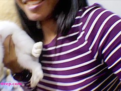 10 Weeks Pregnant Thai Teen Heather Deep gives blowjob and gets cum in mouth and swallow
