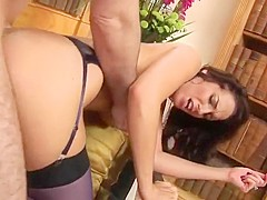Hot brunette gets it it in the ass