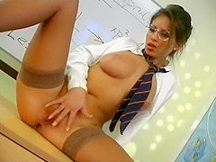 girl in glasses masturbates