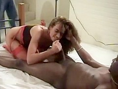 Babe sucking and riding on BBC in front of husband -part1