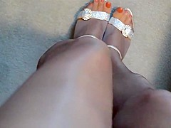 Red Polish Glossy Tan Pantyhose and High Heels