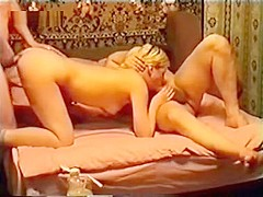 Hot wife gets dicked from both ends and double penetrated by older men