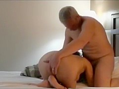 Mature Guys Banging a Brunette Slut