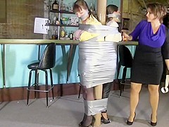 TWO GIRLS ARE DUCT TAPED AND GAGGED BY ONE LADY WOMAN