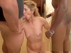 Lauren DeWynter earns her tattoo at a 20 man interracial gangbang