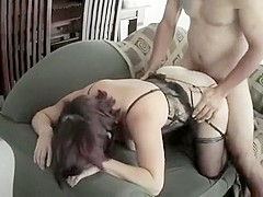 Curvy cuckold brunette in lingerie gets nailed doggy style