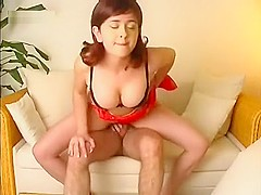 Sexy redhead receives a big facial after getting mouth fucked