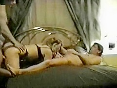 Gorgeous amateur blonde MILF gets involved in a threesome