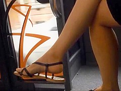 Candid Feet  Legs in the Bus