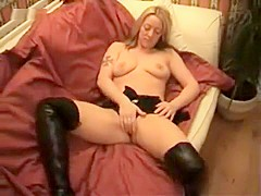 Talented horny blonde sucks hubby's dick and swallows after being doggy fucked