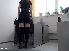Hidden camera at boss office. She strips at real interview!