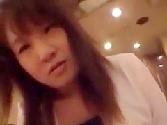 Asian girl pisses and farts on a guys cock