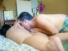Chubby chick has both of her holes licked