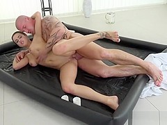 com - Nikky Perry - Brunette massages tattooed stud