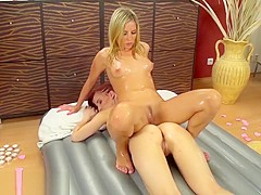 slippery nuru massage is her new job