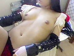 Naked Asian Babe Lipstick Tease - RealAsianExposed
