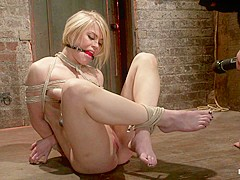 Hot Blond's Nipples Are Abuse, Feet Tickled,  Pussy Fucked With A Stick, Made To Cum Like A Whore. -