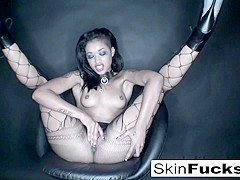 Skin Diamond in Playing With Her Tight Pussy Wearing Sexy Fishnets - SkinDiamond