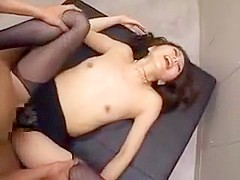 Slutty Japanese babe getting pumped full of hard meat and f