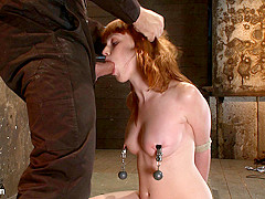 Sexy Irish Girl Is Severely Bound, Made To Suck Cock And Cumher Puffy Nipples Clamped And Abused - H