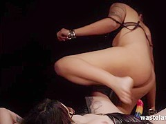 Interracial Lesbian BDSM Action With Strap Ons