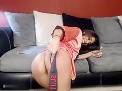 A Silky Haired Brunette Gets Her Cunt Revealed
