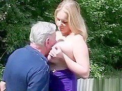 Big Titted Blonde Fucks Old Man IN The Park