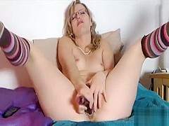 Layden angelic blonde babe toying cunt with a big vibrator