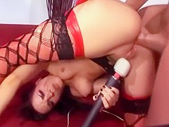 Deep anal in boots and fishnet stockings
