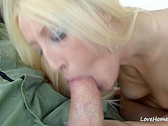 Blonde beauty sucking cock and riding too