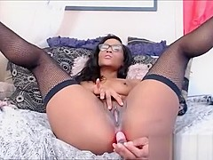 Sexy Black Teen With Glasses Nude Shaved Pussy