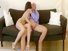 Brunette gets her pussy and ass fucked from lucky guy
