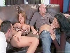 BIG TIT MILF BRUNETTE PORNSTARS HAVE FOURSOME.