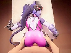 Hot game action with widowmaker from overwatch