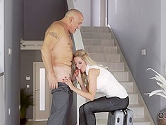 OLD4K. Chick with big tits satisfies old man at home after busy day