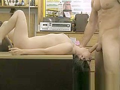 Pretty Brunette Getting Face Fucked In Pawn Shop Office