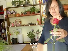 F-Sized tits mature gets fucked in flower store