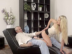 OLD4K. Slim hottie nicely rides lover's dick in old and young video