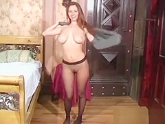 Sexy Cutie Strips And Takes Off Fine Pantyhose After Posing