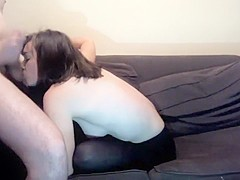 A Teen Is Sitting On Top Of A Cock